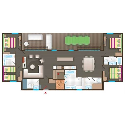 [PX] Cottage VIP BD455 de Center Parcs Le Bois aux Daims  # Plan Cottage Center Parc Bois Aux Daims