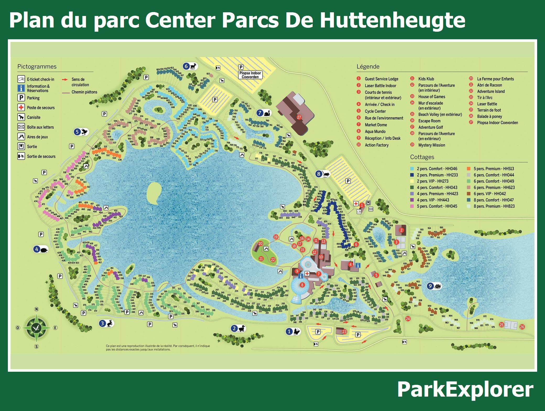 Le plan du  Center Parcs De Huttenheugte
